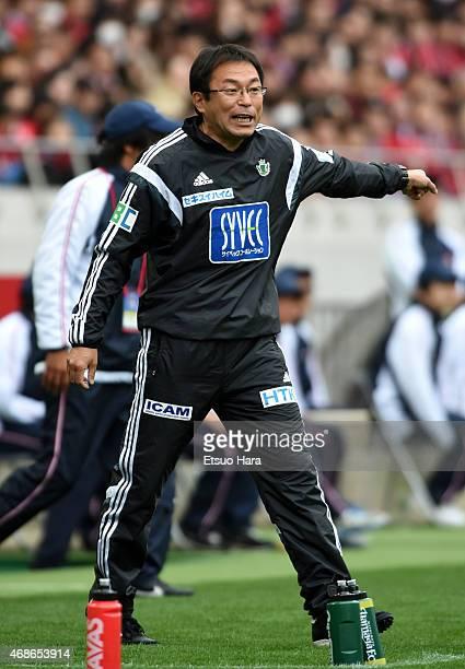 Matsumoto Yamaga head coach Koji Sorimachi gestures during the JLeague match between Urawa Red Diamonds and Matsumoto Yamaga at Saitama Stadium on...