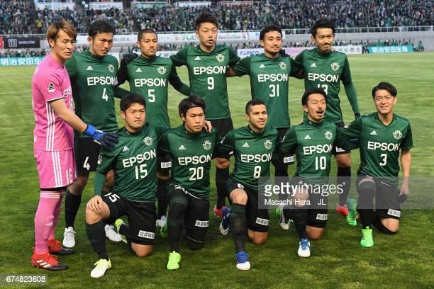Matsumoto Yamaga players line up for the team photos prior to the JLeague J2 match between Matsumoto Yamaga and Kamatamare Sanuki at Matsumotodaira...