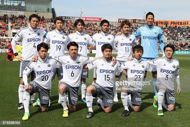 Matsumoto Yamaga players line up for the team photos prior to the JLeague second division match between Shimizu SPulse and Matsumoto Yamaga at the...