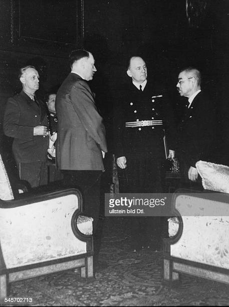 Matsuoka in Berlin, meeting at Hitler's office in the Reich Chancellery in Berlin Hitler talking with Yosuke Matsuoka , in the center: interpreter...