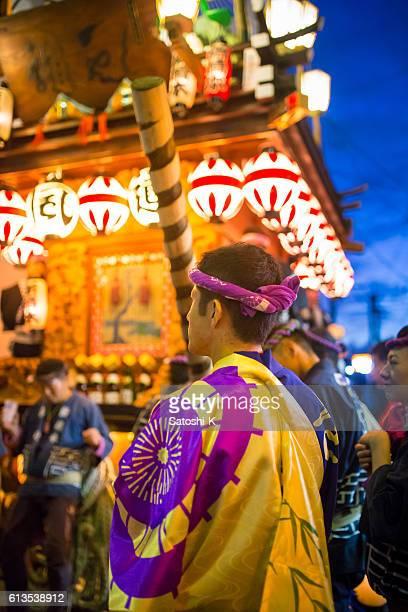 Matsuri staff surrounding parade float - Sawara Autumn Festival