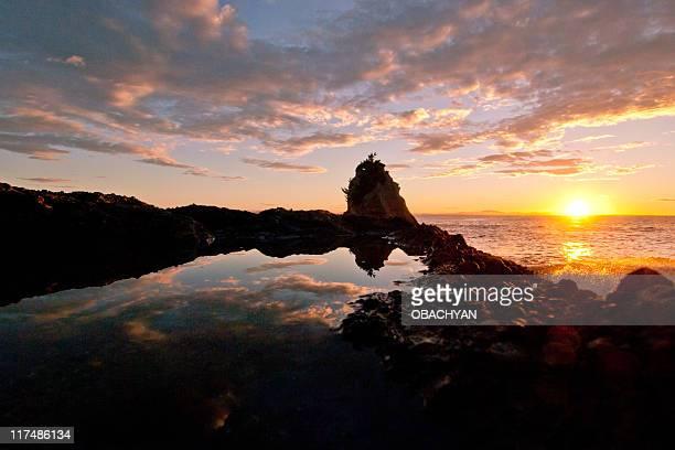 Matsushima bay at sunset