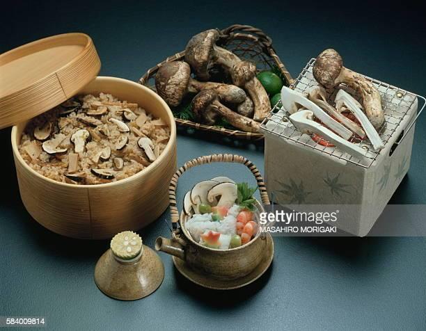 Matsutake mushroom dishes, black background