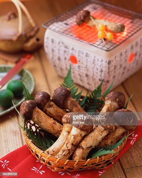 Matsutake Mushrooms and a charcoal grill