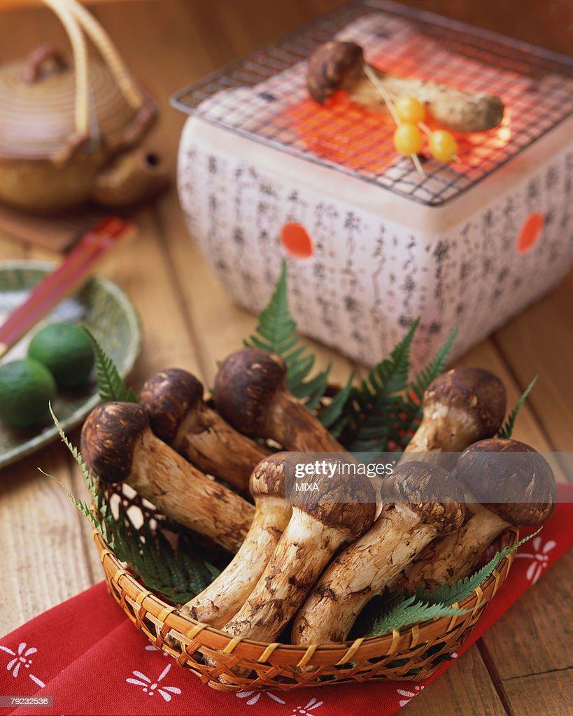 Matsutake Mushrooms and a charcoal grill : Stock Photo