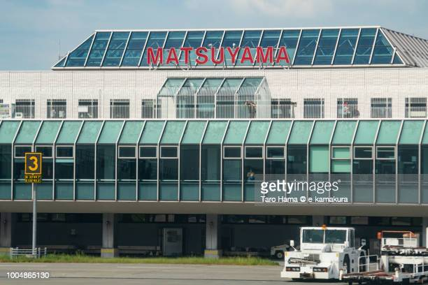 Matsuyama airport in Japan daytime aerial view from airplane
