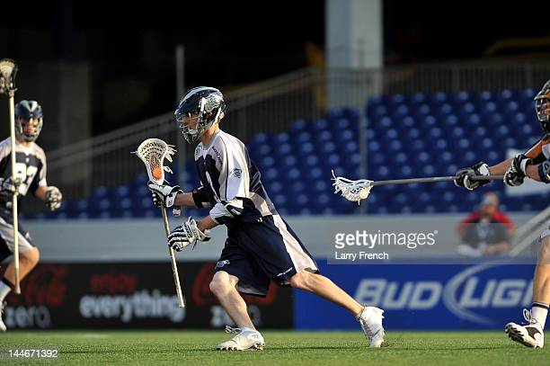 Matt Abbott of the Chesapeake Bayhawks controls the ball against the Rochester Rattlers at NavyMarine Corps Memorial Stadium on May 12 2012 in...