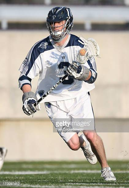 Matt Abbott of the Chesapeake Bayhawks runs with the ball during Major League Lacrosse game action against the Hamilton Nationals on June 29 2013 at...