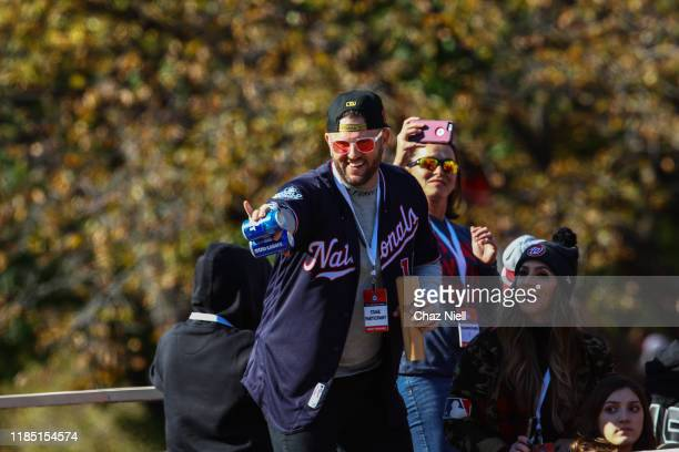 Matt Adams celebrates during the Washington Natioanls World Series victory parade on November 02 2019 in Washington DC