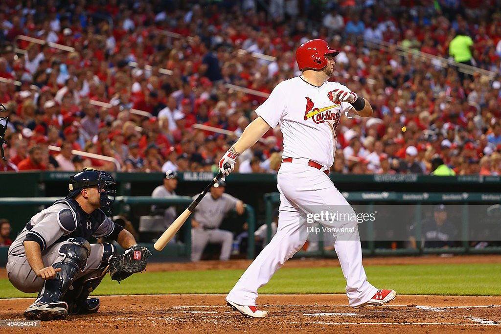 Matt Adams #32 of the St. Louis Cardinals hits an RBI double against the New York Yankees in the third inning at Busch Stadium on May 27, 2014 in St. Louis, Missouri.