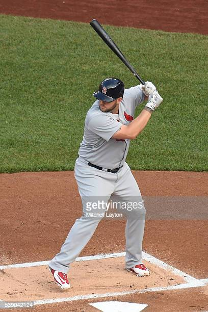 Matt Adams of the St. Louis Cardinals prepares for a pitch during a baseball game against the Washington Nationals at Nationals Park on May 26, 2016...