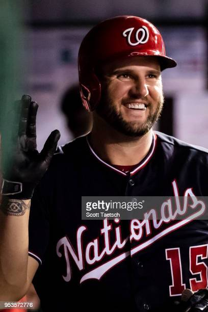 Matt Adams of the Washington Nationals celebrates after scoring against the Pittsburgh Pirates during the sixth inning at Nationals Park on May 1...
