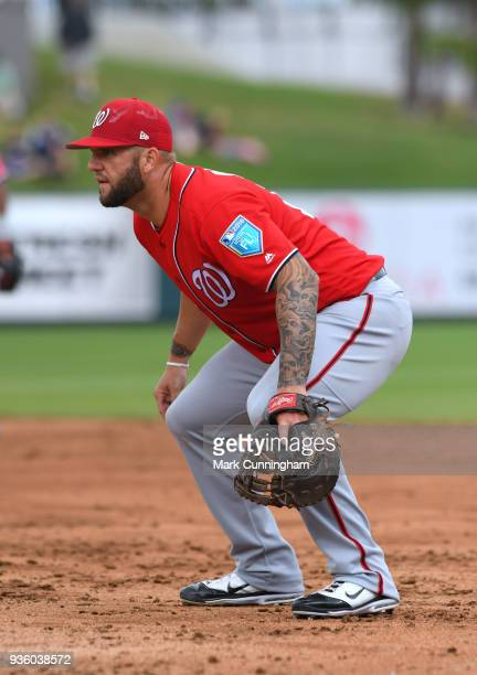Matt Adams of the Washington Nationals fields during the Spring Training game against the Detroit Tigers at Publix Field at Joker Marchant Stadium on...