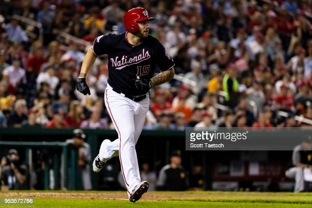 Matt Adams of the Washington Nationals hits an RBI single against the Pittsburgh Pirates during the sixth inning at Nationals Park on May 1 2018 in...