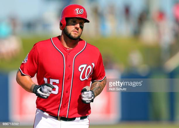 Matt Adams of the Washington Nationals in action against the New York Mets during a spring training game at FITTEAM Ball Park of the Palm Beaches on...
