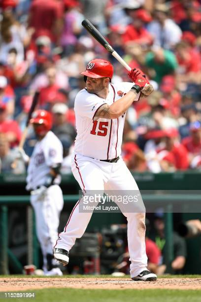 Matt Adams of the Washington Nationals prepares for a pitch during a baseball game against the Miami Marlins at Nationals Park on May 27, 2019 in...