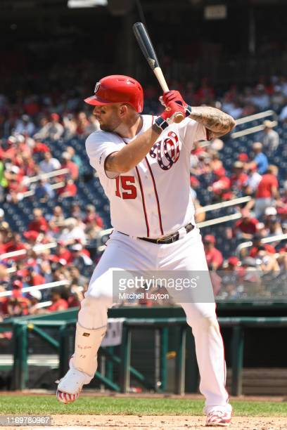 Matt Adams of the Washington Nationals prepares for a pitch during a baseball game against the Milwaukee Brewers at Nationals Park on August 18, 2019...