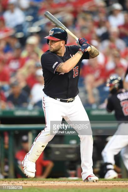 Matt Adams of the Washington Nationals prepares for a pitch during a baseball game against the New York Mets at Nationals Park on September 3, 2019...