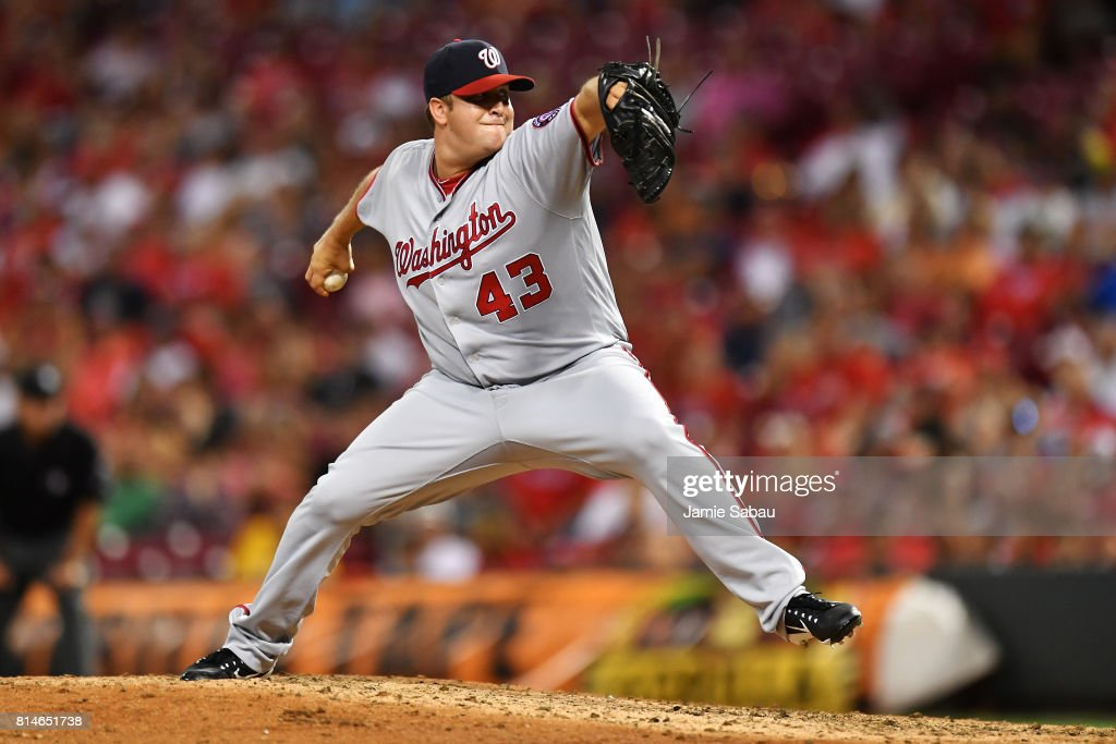 Matt Albers #43 of the Washington Nationals pitches in the ninth inning against the Cincinnati Reds at Great American Ball Park on July 14, 2017 in Cincinnati, Ohio. Washington shut out Cincinnati 5-0.
