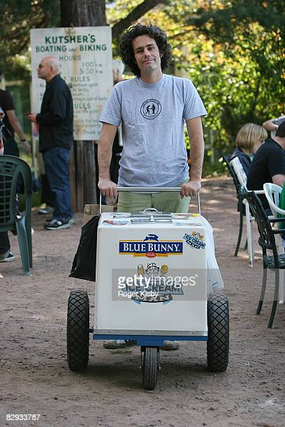 Matt Allen aka The Ice Cream Man gives out ice cream during the ATP New York 2008 music festival at Kutshers Country Club on September 20, 2008 in...