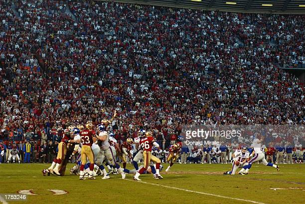 Matt Allen of the New York Giants can't handle the low snap on a field goal attempt as time expired against the San Fransisco 49ers in the NFC Wild...