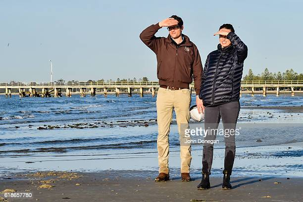 Matt and Francesca Cumani watch Grey Lion at Altona Beach on October 28 2016 in Altona Australia