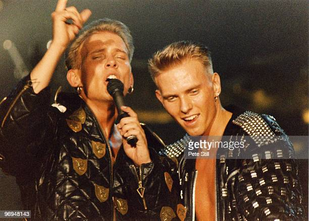 Matt and Luke Goss of Bros perform on stage on 'The Big Push' tour at Wembley Arena on December 28th 1988 in London England