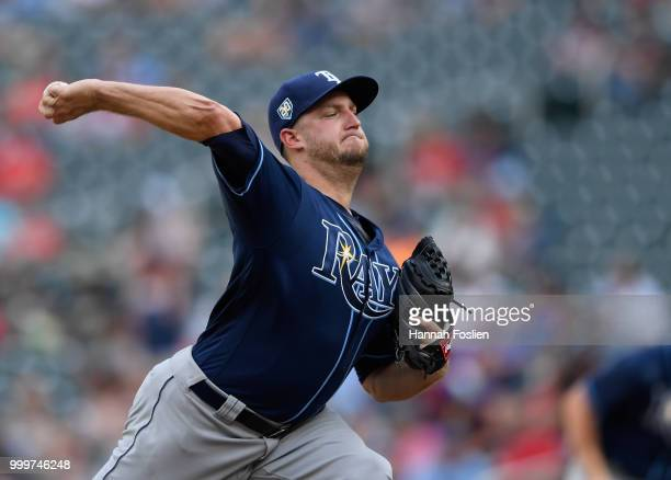 Matt Andriese of the Tampa Bay Rays delivers a pitch against the Minnesota Twins during the 10th inning of the game on July 15 2018 at Target Field...