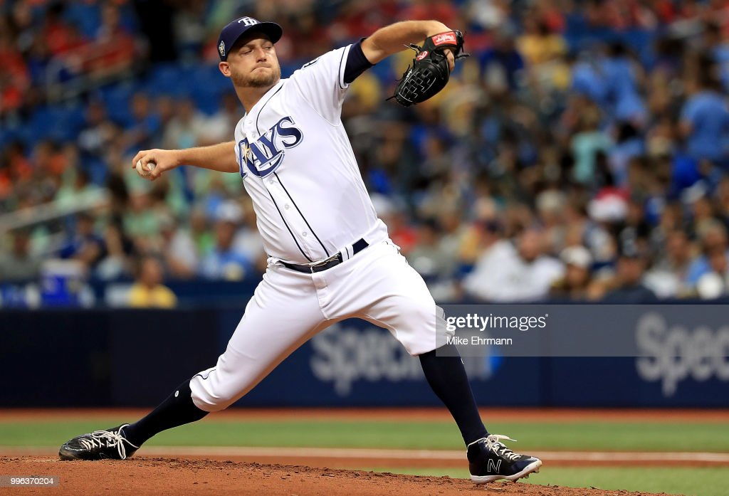 Matt Andriese #35 of the Tampa Bay Rays pitches during a game against the Detroit Tigers at Tropicana Field on July 11, 2018 in St Petersburg, Florida.