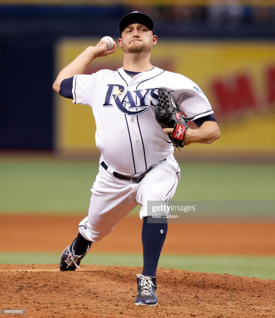 Matt Andriese #35 of the Tampa Bay Rays throws in the 10th inning of a baseball game against the Detroit Tigers at Tropicana Field on July 9, 2018 in St. Petersburg, Florida.