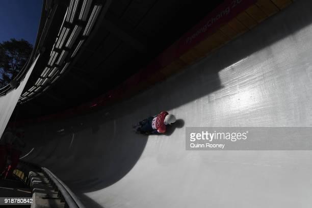 Matt Antoine of the United States slides during the Men's Skeleton heats at Olympic Sliding Centre on February 16 2018 in Pyeongchanggun South Korea