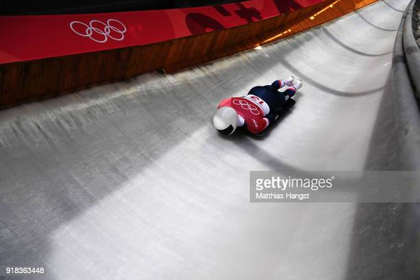 Matt Antoine of the United States slides during the Men's Skeleton heats on day six of the PyeongChang 2018 Winter Olympic Games at the Olympic...