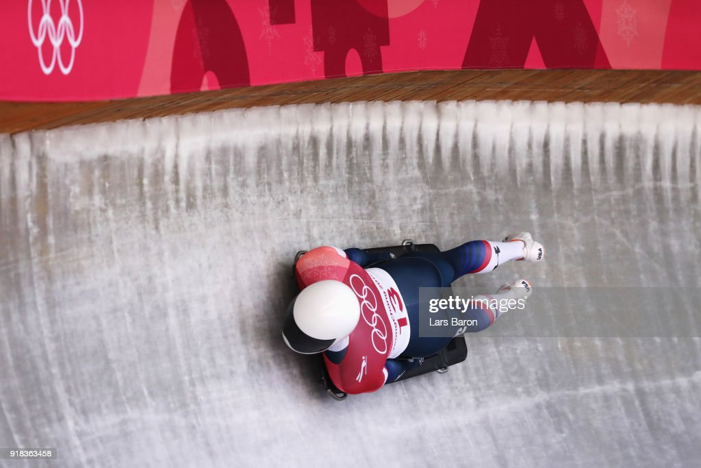 Matt Antoine of the United States slides during the Men's Skeleton heats on day six of the PyeongChang 2018 Winter Olympic Games at the Olympic Sliding Centre on February 15, 2018 in Pyeongchang-gun, South Korea.
