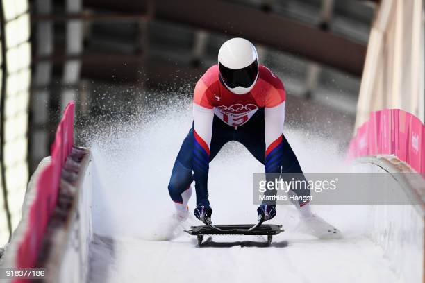 Matt Antoine of the United States slides into the finish area during the Men's Skeleton heats on day six of the PyeongChang 2018 Winter Olympic Games...