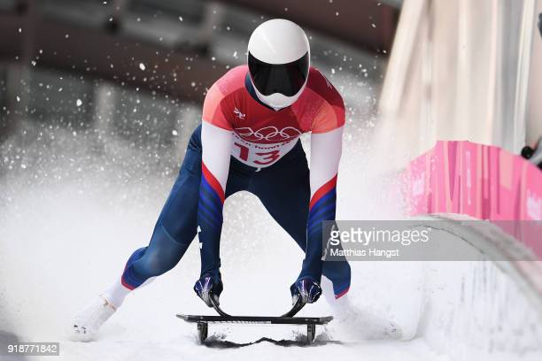 Matt Antoine of the United States slides into the finish area during the Men's Skeleton heats at Olympic Sliding Centre on February 16 2018 in...