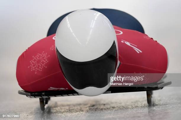 Matt Antoine of the United States trains during the Mens Skeleton training session on day four of the PyeongChang 2018 Winter Olympic Games at...
