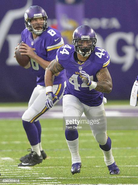 Matt Asiata of the Minnesota Vikings blocks during an NFL game against the Indianapolis Colts at US Bank Stadium on December 18 2016 in Minneapolis...