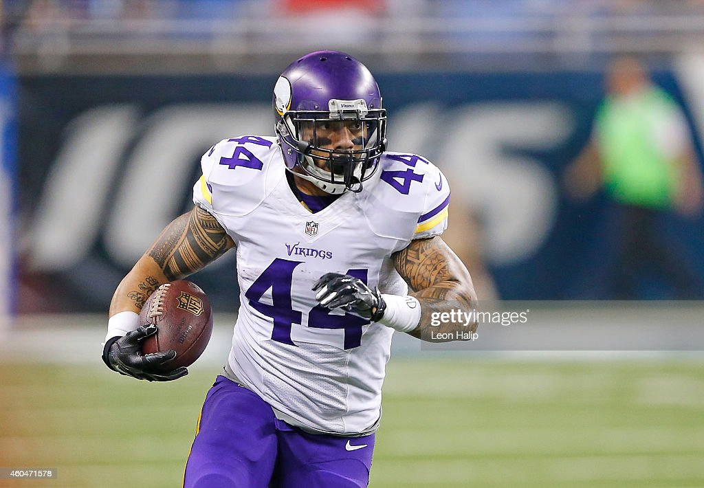 Matt Asiata #44 of the Minnesota Vikings runs for a first down during the first quarter during the game against the Detroit Lions at Ford Field on December 14, 2014 in Detroit, Michigan. The Lions defeated the Vikings 16-14.