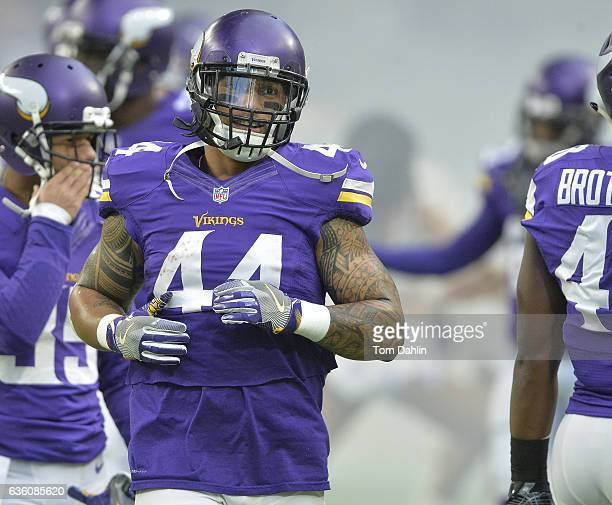 Matt Asiata of the Minnesota Vikings runs onto the field prior to an NFL game against the Indianapolis Colts at US Bank Stadium on December 18 2016...