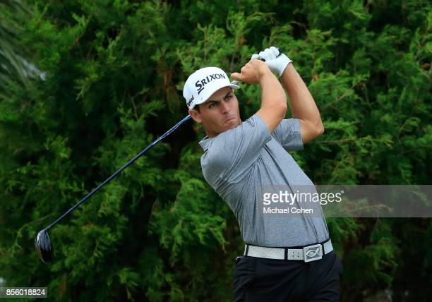 Matt Atkins hits his drive on the second hole during the third round of the Webcom Tour Championship held at Atlantic Beach Country Club on September...