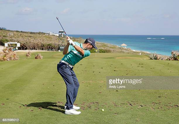 Matt Atkins hits his tee shot on the 14th hole during the second round of The Bahamas Great Abaco Classic at the Abaco Club on January 24 2017 in...