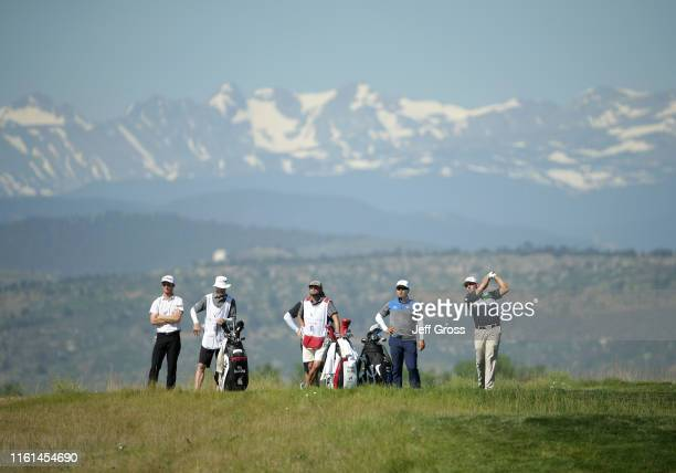 Matt Atkins plays his tee shot on the 14th hole during the first round of the Korn Ferry Tour TPC Colorado Championship at TPC Colorado on July 11,...