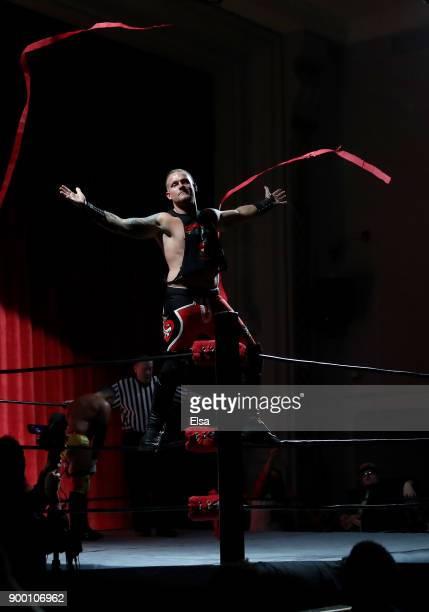 Matt 'Bad Apple' Mcintosh makes his entrance during Capitol Wrestling World War IV on December 29 2017 at Capitol Auditorium in Hoboken New Jersey