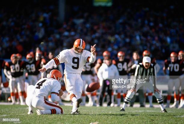 Matt Bahr of the Cleveland Browns kicks a field goal against the Cincinnati Bengals during an NFL football game December 2 1984 at Cleveland...