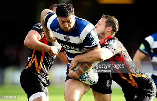 Matt Banahan of Bath attempts to break through the Newport defence during the Amlin Challenge Cup match between Bath and Newport Gwent Dragons at...