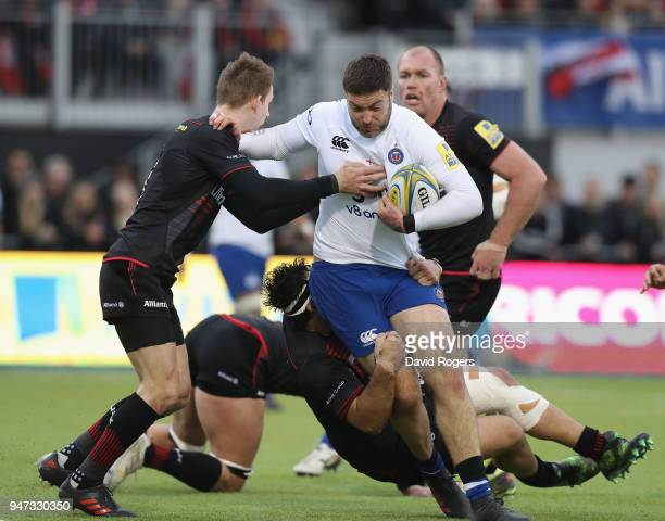 Matt Banahan of Bath is tackled during the Aviva Premiership match between Saracens and Bath Rugby at Allianz Park on April 15 2018 in Barnet England