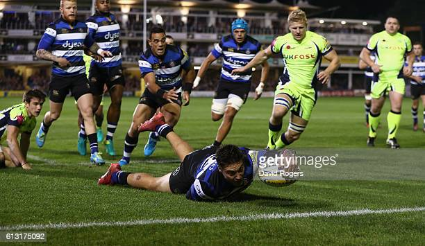Matt Banahan of Bath stretches to score the first try during the Aviva Premiership match between Bath Rugby and Sale Sharks at the Recreation Ground...