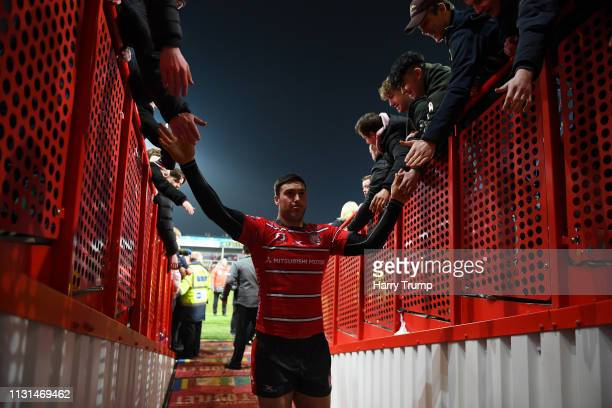 Matt Banahan of Gloucester Rugby celebrates by high fiving the fans after the match during the Gallagher Premiership Rugby match between Gloucester...