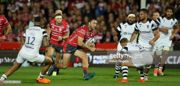 Matt Banahan of Gloucester runs with the ball during the Gallagher Premiership Rugby match between Gloucester Rugby and Bristol Bears at Kingsholm...