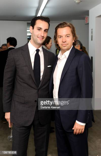 Matt Bangser and Friedrich Kunath attend Preview And Dinner In Honor Of Requiem For The Sun The Art Of Monoha At Blum Poe at Blum Poe on February 24...